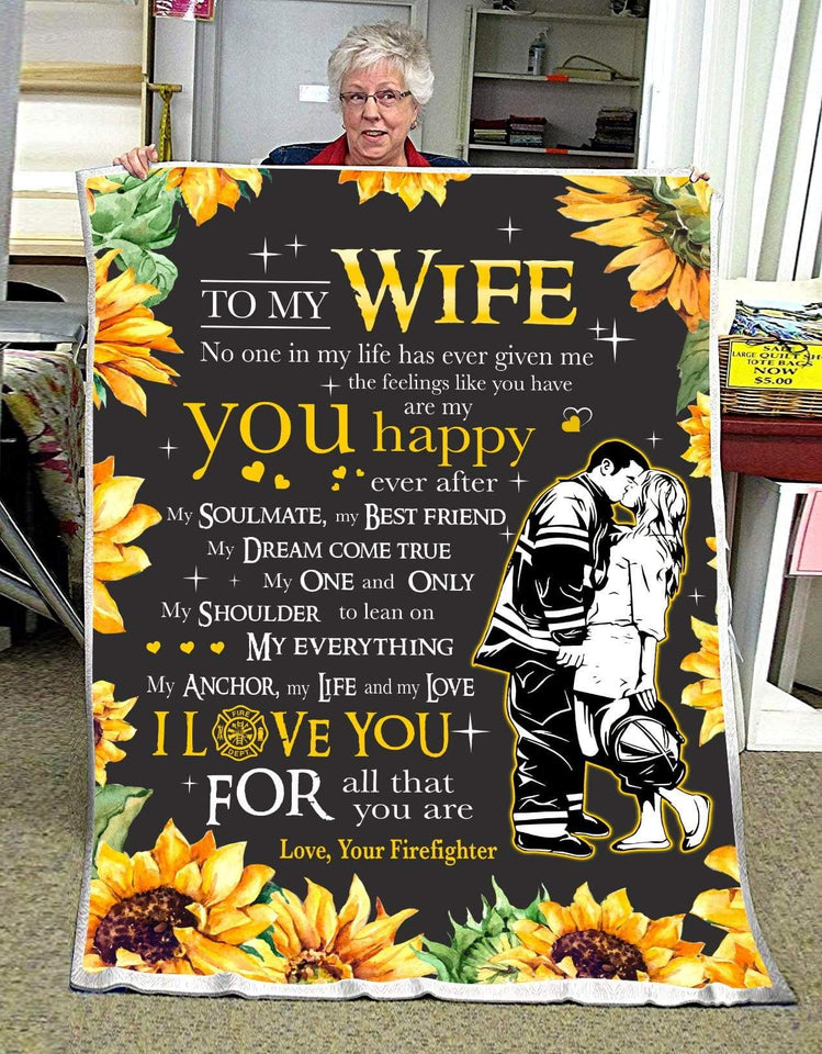 BLANKET FIREFIGHTER To My Wife You are my happy ever after - Zalooo.com Custom Wall Art Canvas