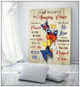 Zalooo Amazing Grace Butterfly Canvas Wall Art Decor