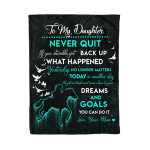 Fleece Blanket - HORSE -  Daughter (Mom) - Never Quit - yenyenstore