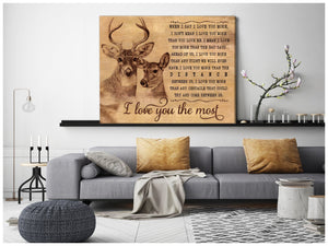 Zalooo I Love You The Most Buck and Doe Canvas Wall Art Decor