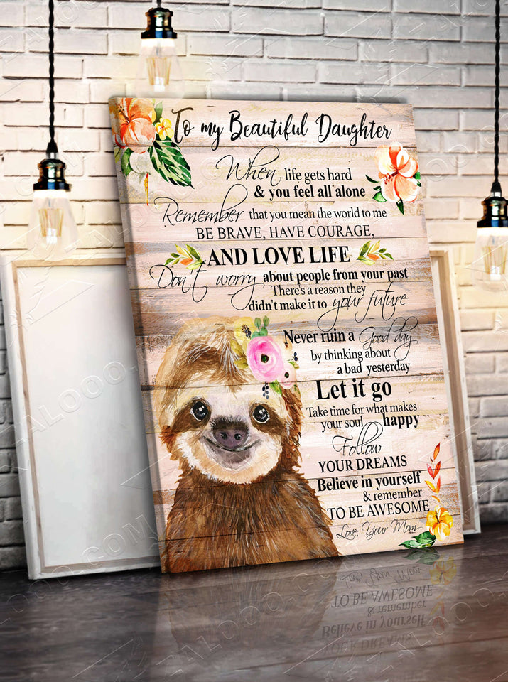 CANVAS - SLOTH - Daughter (Mom) - Remember to be Awesome - yenyenstore