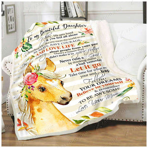 Fleece Blanket - HORSE - Daughter (Mom) - Remember to be awesome - yenyenstore