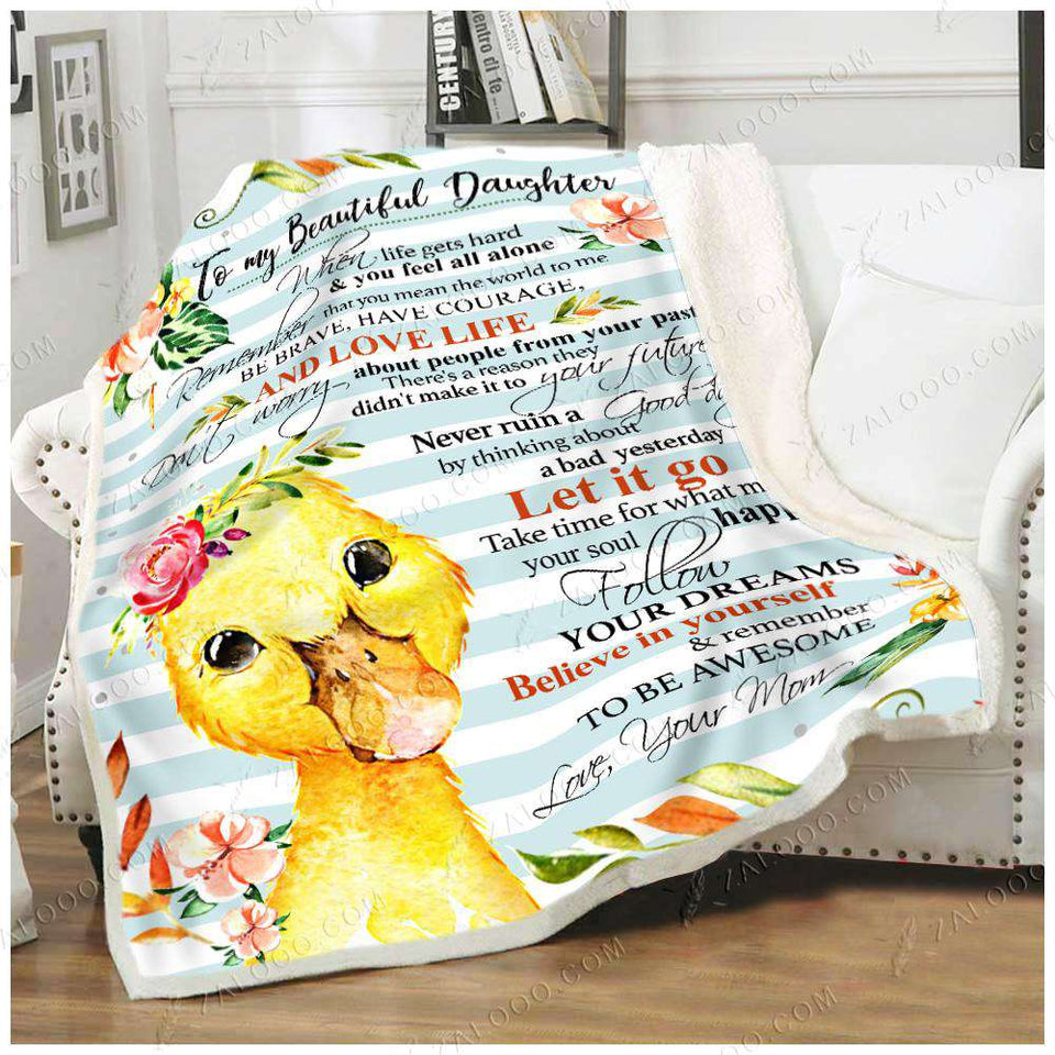 Fleece Blanket - DUCKLING - Daughter (Mom) - Remember to be awesome - yenyenstore