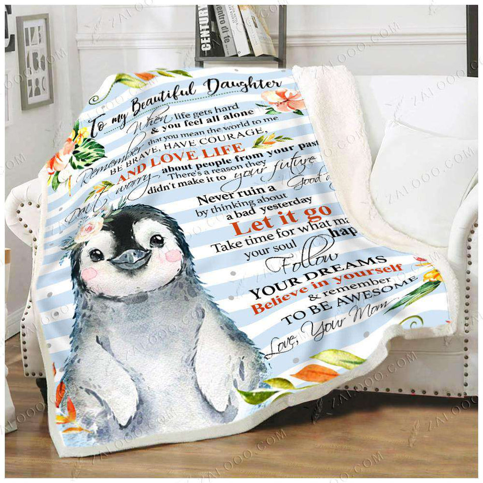 Fleece Blanket - PENGUIN - DAUGHTER (Mom) - Remember to be Awesome - yenyenstore