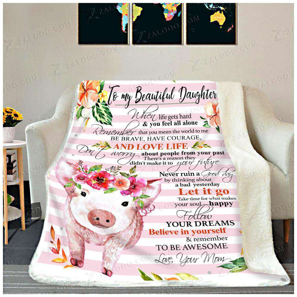 Fleece Blanket - PIG - DAUGHTER (Mom) - Remember to be Awesome - yenyenstore