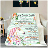 Fleece Blanket - UNICORN - Daughter (Mom) - Remember to be awesome - yenyenstore