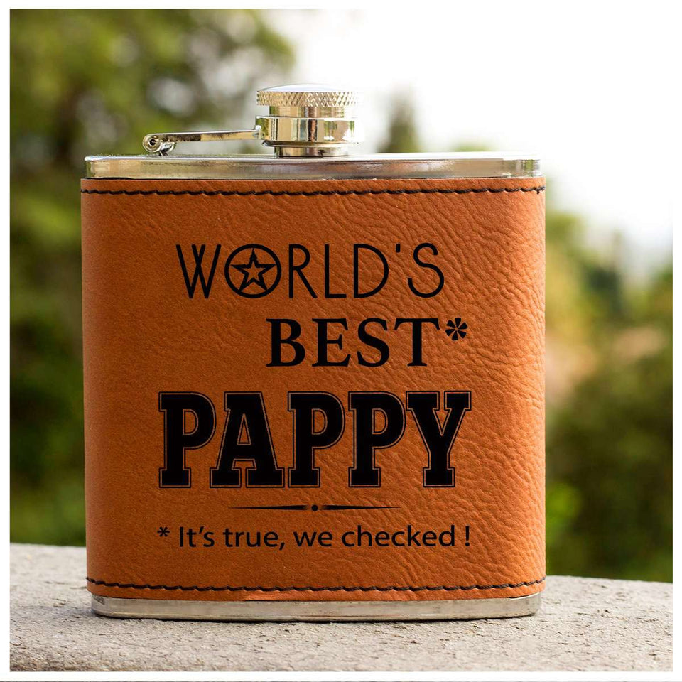 Leather Flask - World's Best Pappy - yenyenstore