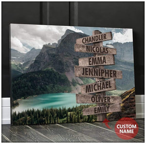 ZALOOO Landscape Personalized Family Name Wall Art Canvas