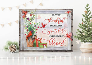 Zalooo Thankful Cardinal Wall Art Canvas Christmas Wall Art Canvas - Zalooo.com Custom Wall Art Canvas