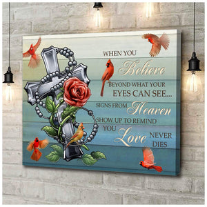 Zalooo When You Believe Cardinal Cross Wall Art Canvas - Zalooo.com Custom Wall Art Canvas