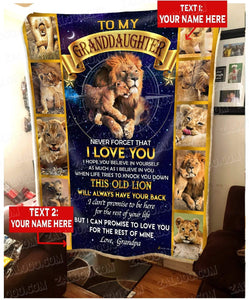 Personalized Blanket LION Granddaughter (Grandpa) This Old Lion Will Always Have Your Back - Zalooo.com Custom Wall Art Canvas