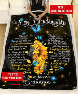 Personalized Blanket Granddaughter (Grandma) I'll always be there for you (Heart) - Zalooo.com Custom Wall Art Canvas