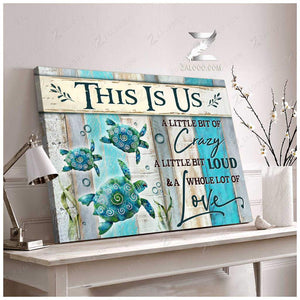 Zalooo This is us Turtle Canvas Wall Art Beach Decor
