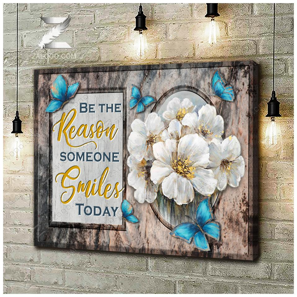 Zalooo Be The Reason Someone Smiles Today Butterfly Canvas Wall Art Floral Decor