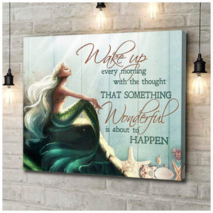 Zalooo Wake Up Every Morning Mermaid Wall Art Canvas - Zalooo.com Custom Wall Art Canvas
