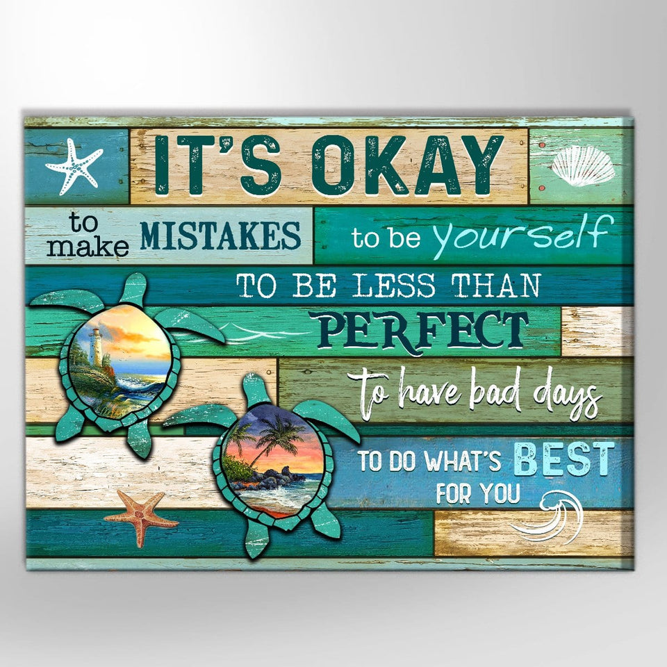 Zalooo It's Okay Turtle Canvas Wall Art Decor