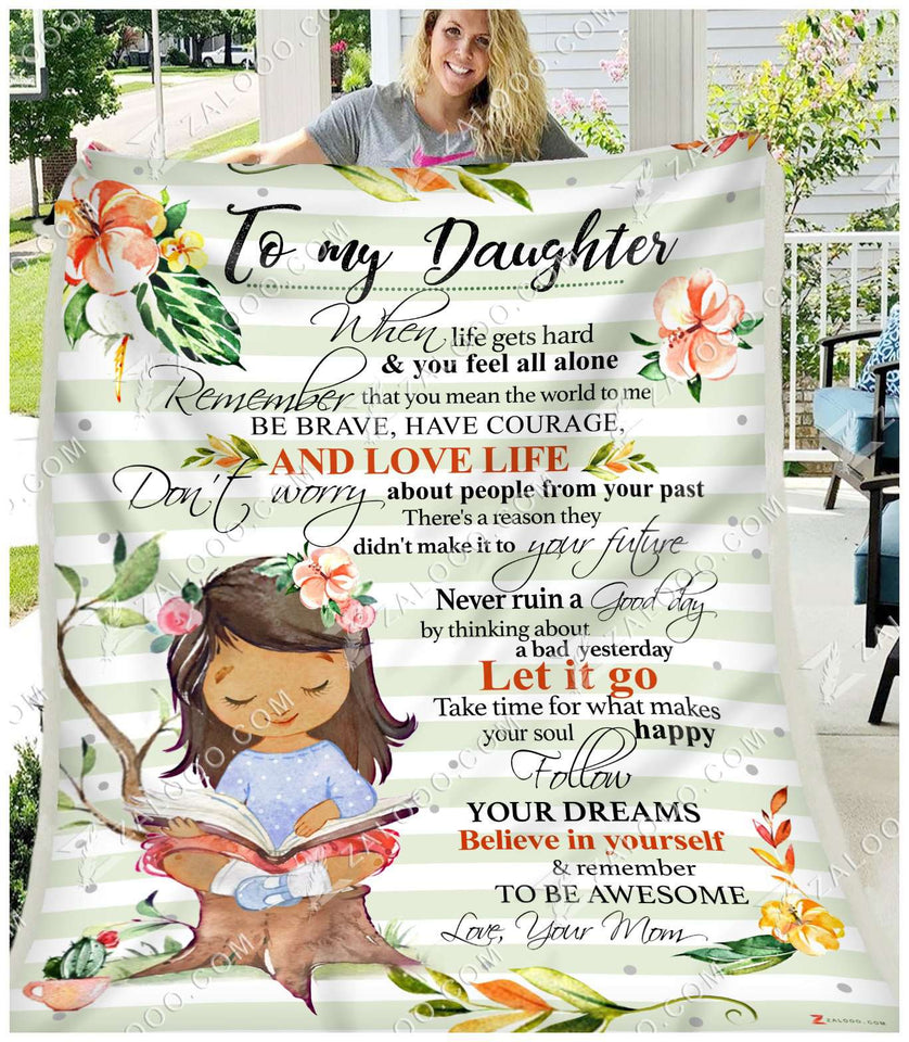 Fleece Blanket - DAUGHTER (Mom) - Remember to be awesome - yenyenstore
