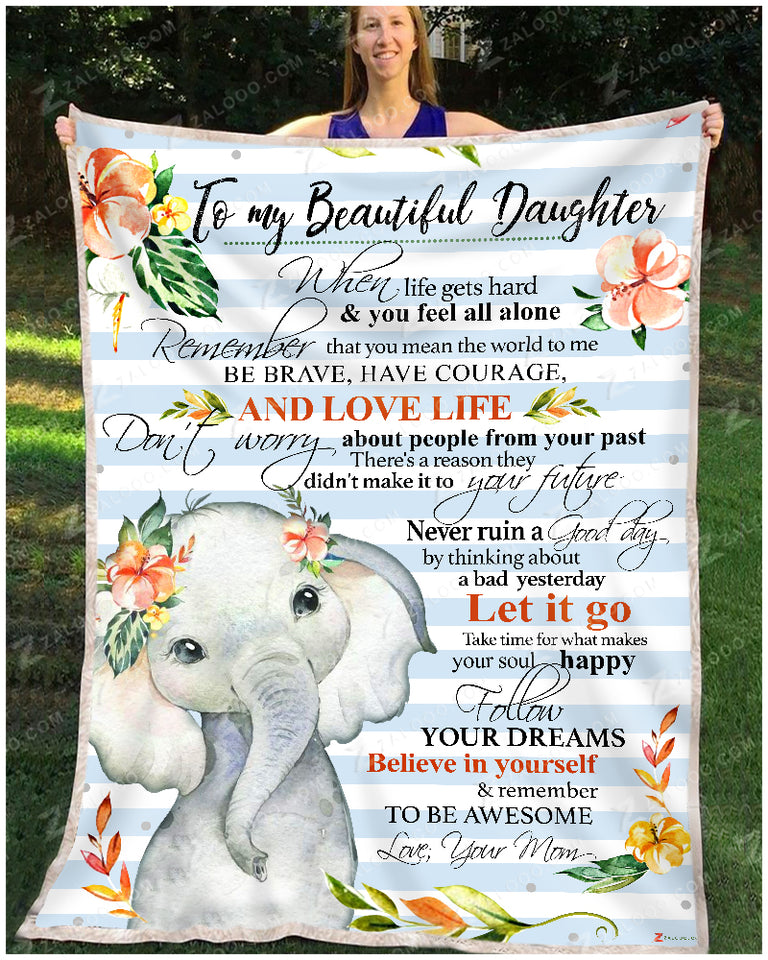 Fleece Blanket - ELEPHANT - Daughter (Mom) - Remember to be Awesome