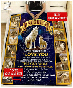 Custom Fleece Blanket - WOLF - For Daughter From Dad - This Old Wolf Will Always Have Your Back