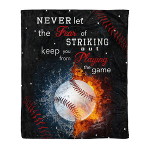 Fleece Blanket - BASEBALL - Never let the fear - yenyenstore