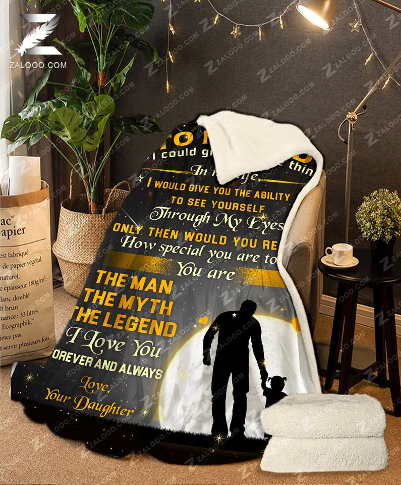 Fleece Blanket - Dad (Daughter) - The Man The Myth The Legend (Yellow)