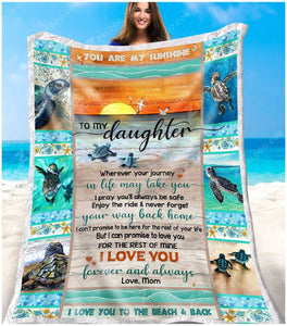 BLANKET TURTLE Daughter (Mom) Wherever Your Journey In Life May Take You - Zalooo.com Custom Wall Art Canvas