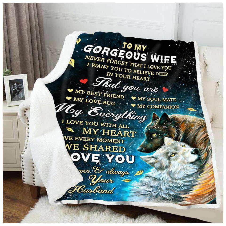 BLANKET - WOLF - To my Wife - My everything - yenyenstore