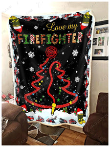BLANKET FIREFIGHTER Love my Firefighter - Zalooo.com Custom Wall Art Canvas