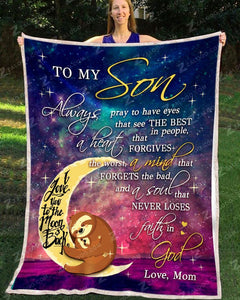 BLANKET SLOTH Son (Mom) Always Pray - Zalooo.com Custom Wall Art Canvas