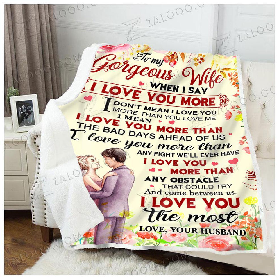 BLANKET TO MY WIFE I love you more