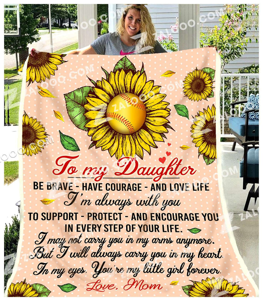 Fleece Blanket - BASEBALL - DAUGHTER (Mom) - I'll always carry you in my heart - yenyenstore