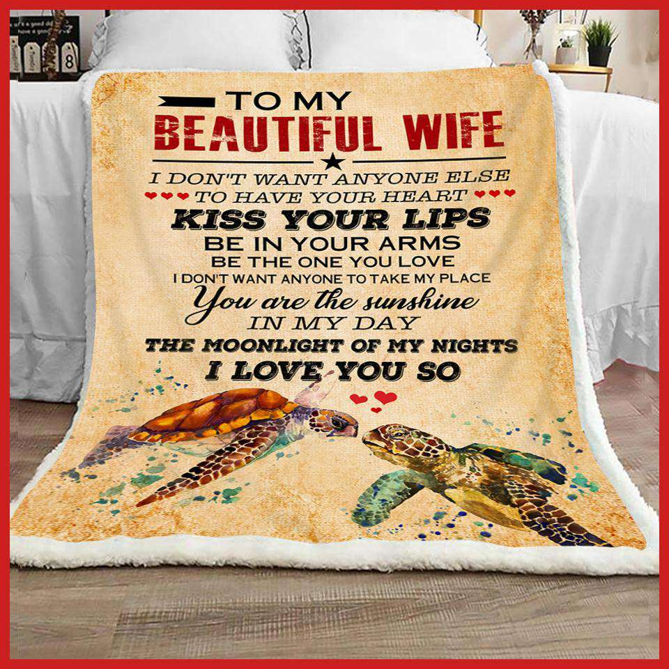 BLANKET - TURTLE - To my Wife - I love you so - yenyenstore