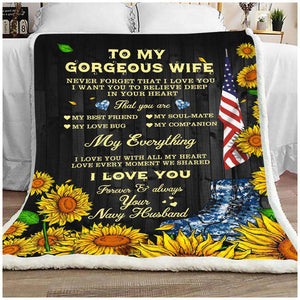 BLANKET - To my Wife - My everything (Navy) - yenyenstore