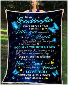 BLANKET BUTTERFLY Granddaughter (Grandpa) Once Upon A Time - Zalooo.com Custom Wall Art Canvas