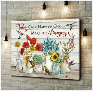Zalooo Make It Amazing Hummingbird Wall Art Canvas - Zalooo.com Custom Wall Art Canvas