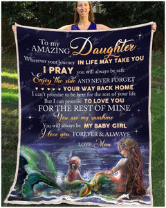 Zalooo My Amazing Daughter Mermaid Blanket - Zalooo.com Custom Wall Art Canvas
