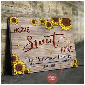 Zalooo Home Sweet Home Personalized Name And Date Wall Art Canvas