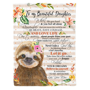 Fleece Blanket - SLOTH - Daughter (Mom) - Remember to be awesome - yenyenstore
