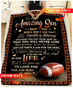 Custom Fleece Blanket - FOOTBALL - For Son From Mom - You will never lose