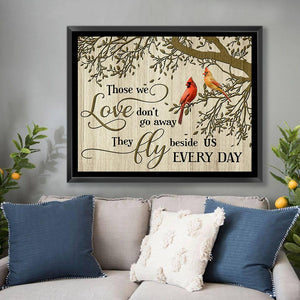 Zalooo Those We Love Don't Go Away Cardinal Framed Canvas Wall Art Decor