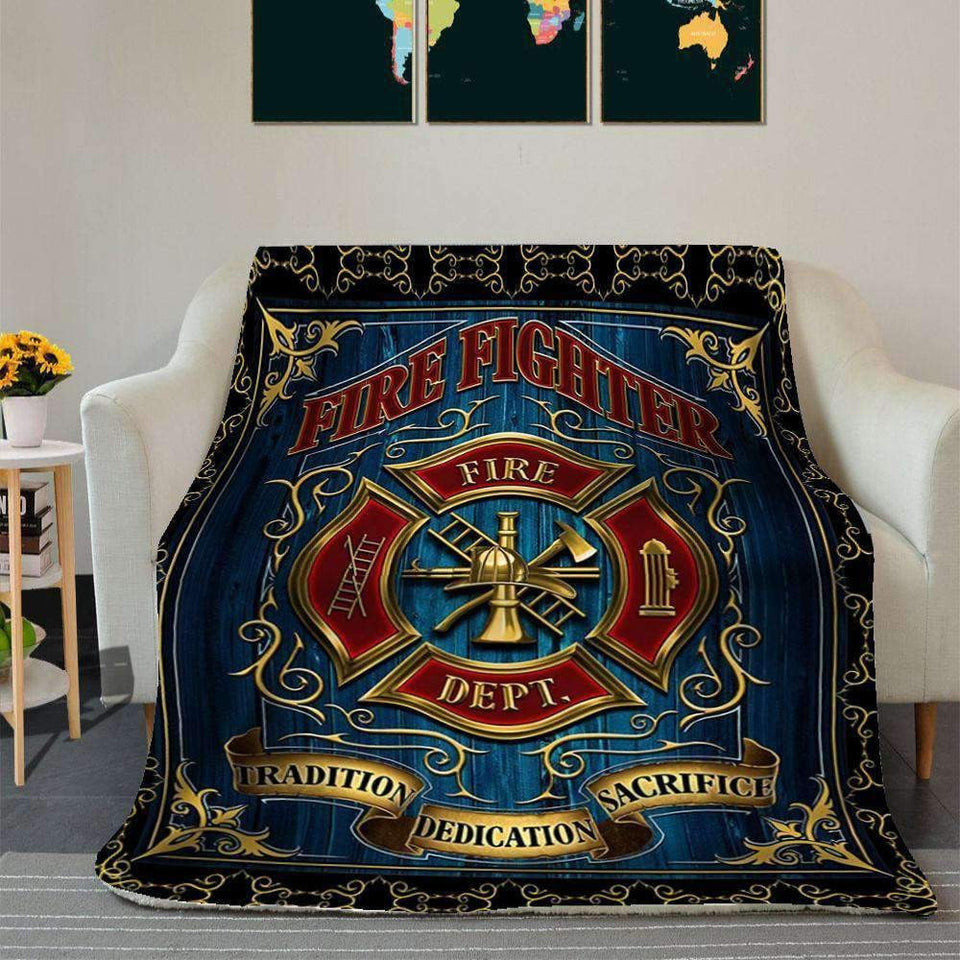 BLANKET - FIREFIGHTER - Tradition Dedication Sacrifice - yenyenstore