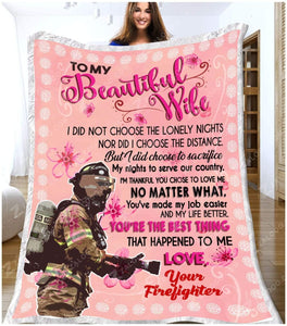 BLANKET FIREFIGHTER To my Wife You're The Best Thing - Zalooo.com Custom Wall Art Canvas