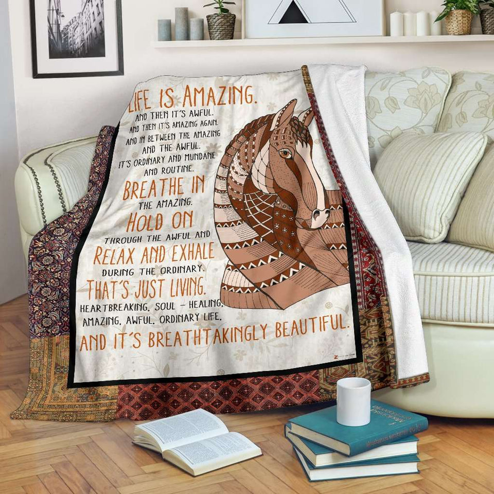 PP - Blanket - Horse - Life Is Amazing - yenyenstore