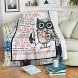 PP - Blanket - Owl - Life Is Amazing - yenyenstore