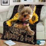 BLANKET - YORKIE - I love you to the moon and back - yenyenstore
