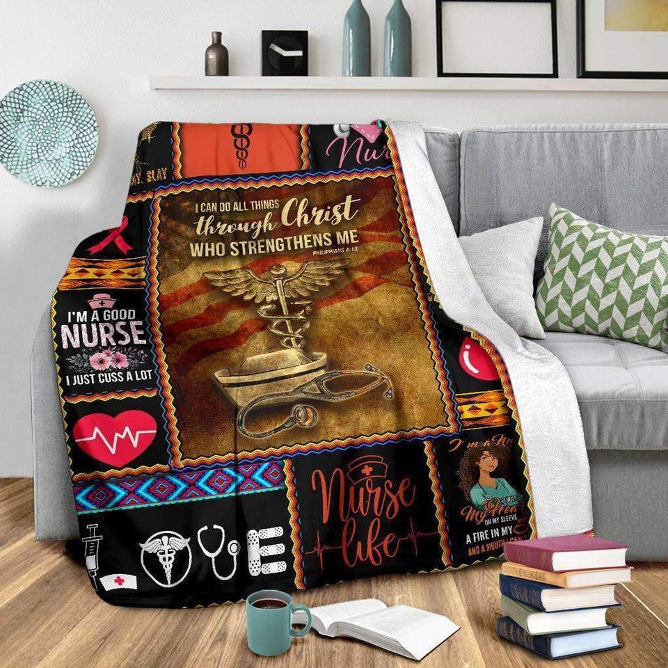 BLANKET - NURSE - I can do all things through Christ - yenyenstore