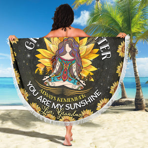Round Beach Towel Hippie To My Granddaughter Love Grandma
