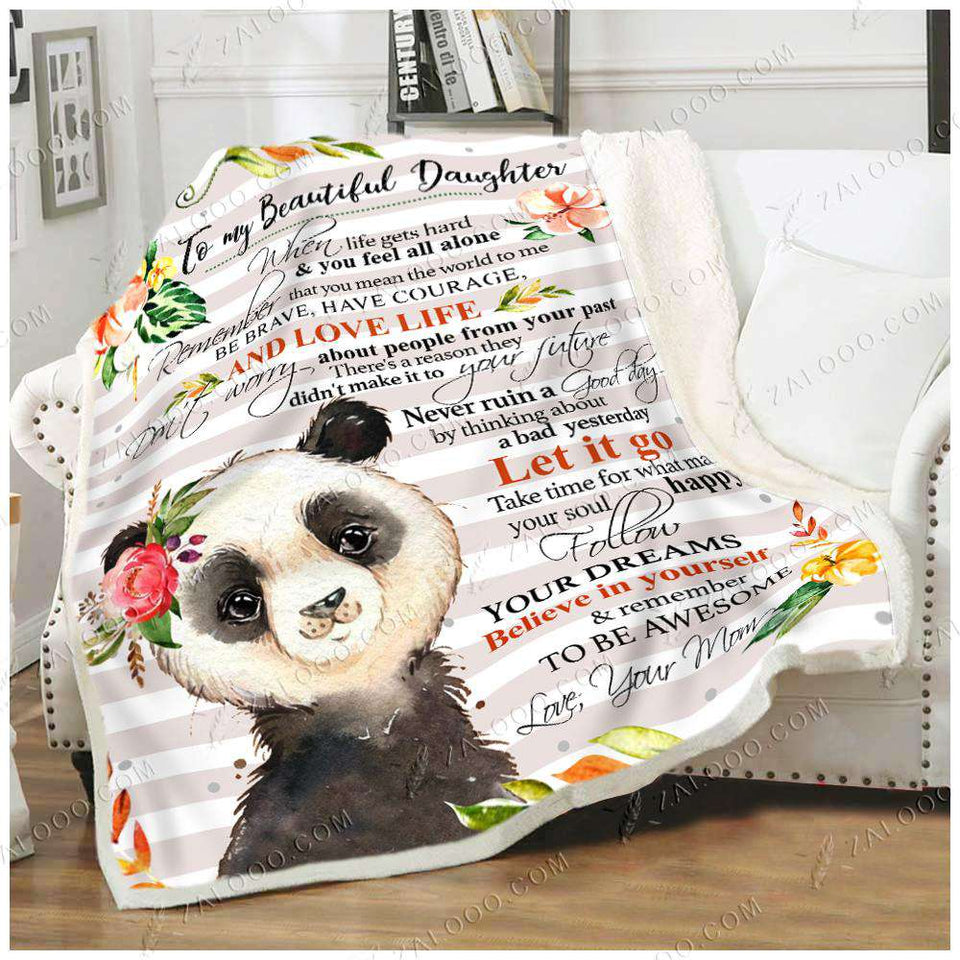 Fleece Blanket - PANDA - Daughter (Mom) - Remember to be awesome - yenyenstore