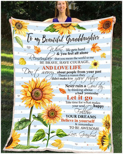 BLANKET SUNFLOWER Granddaughter (Grandma) Remember to be Awesome