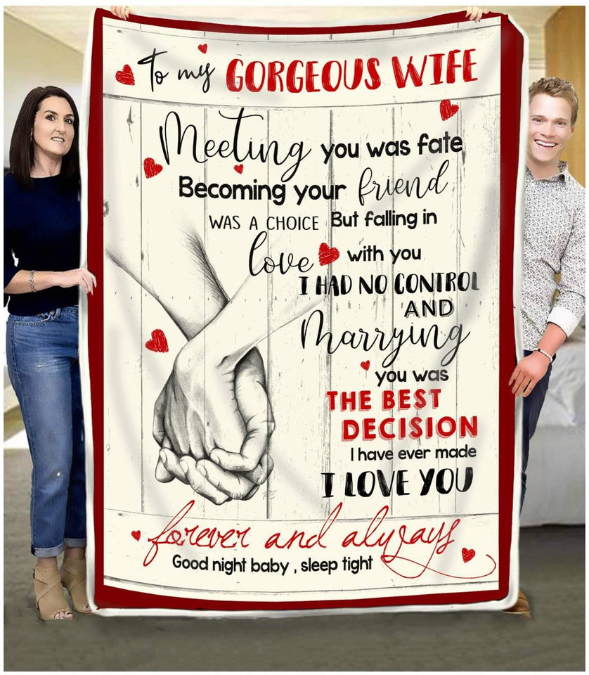 BLANKET To my Wife Meeting you was fate (Hand) - Zalooo.com Custom Wall Art Canvas